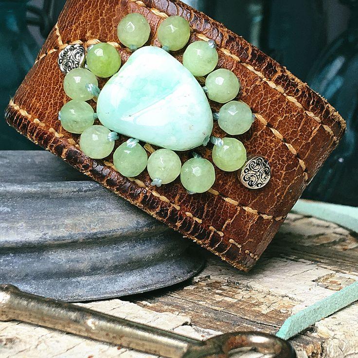 Customize leather bracelet, beaded bracelet, chrysophase leather bracelet, leather cuff, upcycled leather belt by TheDancingPear on Etsy https://www.etsy.com/listing/512848122/customize-leather-bracelet-beaded