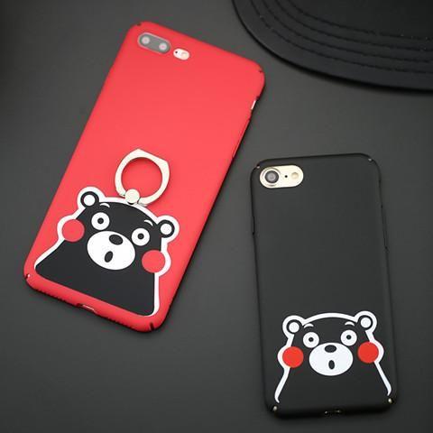 アイフォンケース iphone8 iphone7s/7/6s/6 携帯カバー くまモン マスコット アイフォン7プラス/6プラス 可愛い 指輪付き マット質感 アクリル製