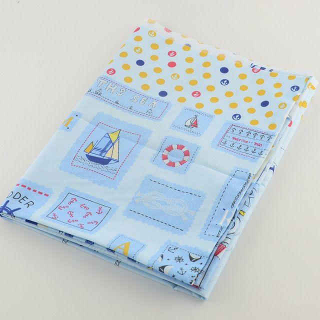 50 см x 160 см / Piece напечатаны синий хлопчатобумажной ткани якорь тильда ткань швейную лоскутное Tecido стегальные дети одежды постельные принадлежности