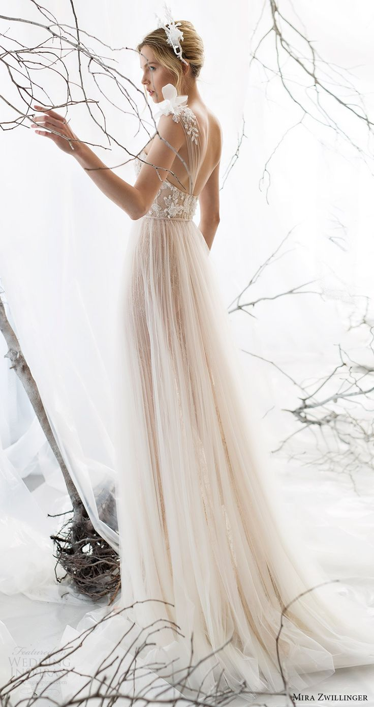 mira Zwillinger nupcial 2017 um ombro alça de vestido de noiva querida frisado corpete aline (jasmim) bv trem cor nude