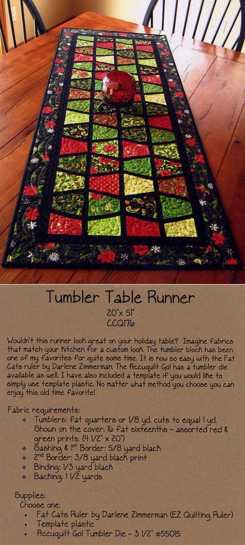 Tumbler Table Runner -- be cute do it in blue and white with gray border where black are.