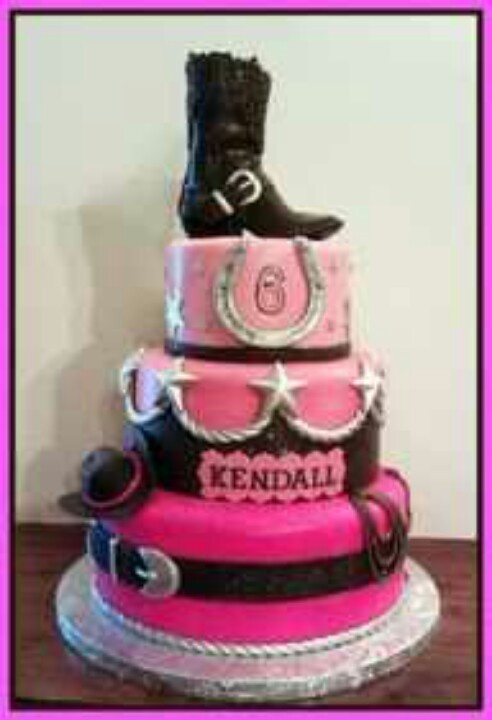 Pink cowgirl cake. Top tier only. No boot