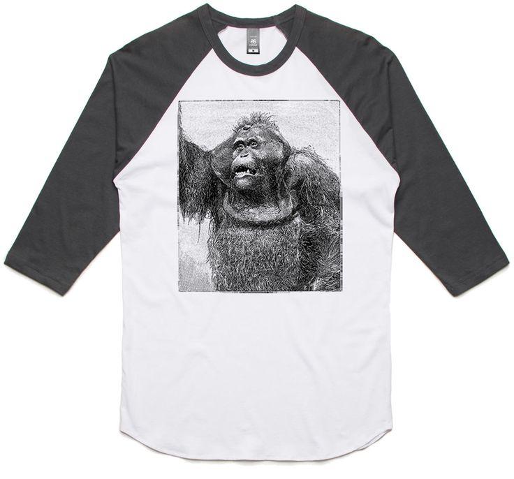 theIndie Vintage Orangutan (Black) 3/4-Sleeve Raglan Baseball T-Shirt