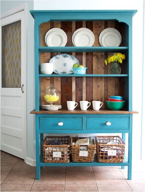 the handmade home hutch via ana white plans -- love the color and the wood planks in the background