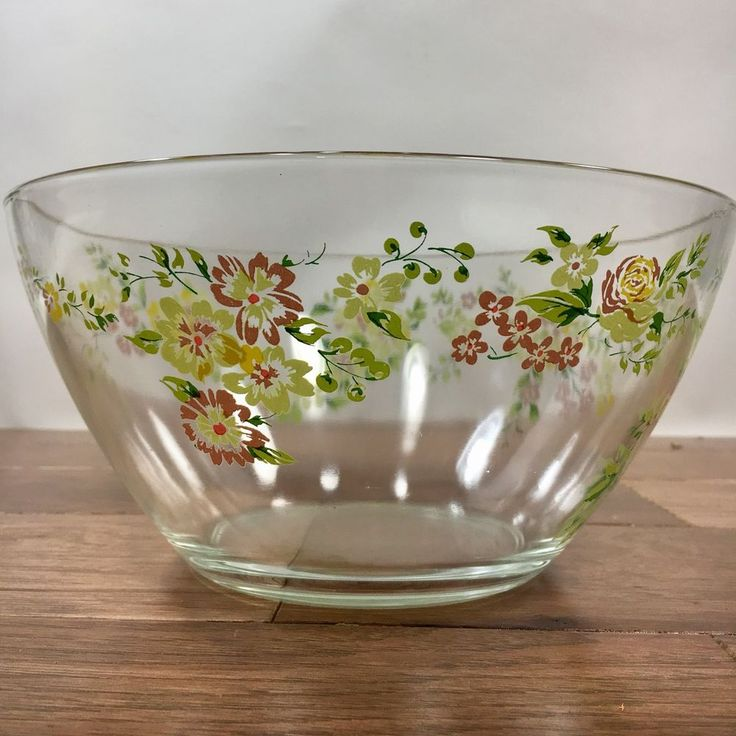 Vtg Arcoroc France Glass Serving Bowl Yellow Pink & Green Floral Spray Pattern  | eBay