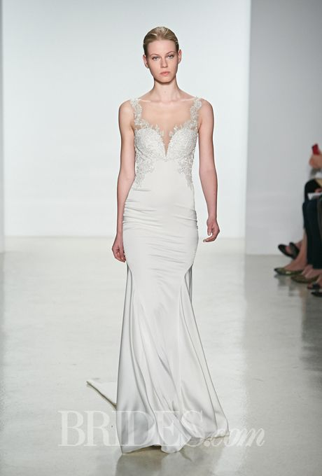 Brides.com: Kenneth Pool - Spring 2015. Sleeveless charmeuse slim mermaid wedding dress with a sweetheart neckline and beaded straps, Kenneth Pool