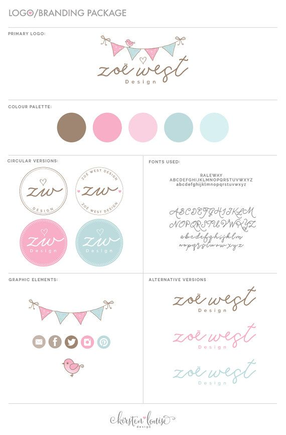 Premade Branding Package Branding Kit by KirstenLouiseDesign