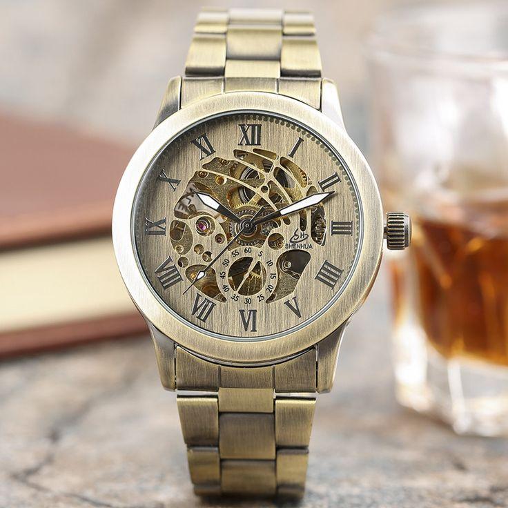 SHENHUA Vintage Full Bronze Automatic Mechanical Watches Male Skeleton Watch Men Copper Steampunk Wrist Watches Horloges Mannen