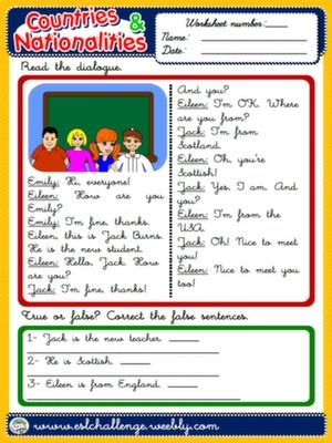 20 best countries nationalities images on Pinterest | Worksheets ...