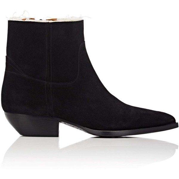 Saint Laurent Men's Theo Suede Boots (€845) ❤ liked on Polyvore featuring men's fashion, men's shoes, men's boots, black, mens leather sole boots, mens leather sole shoes, mens cowboy boots, mens cuban heel boots and mens black cowboy boots