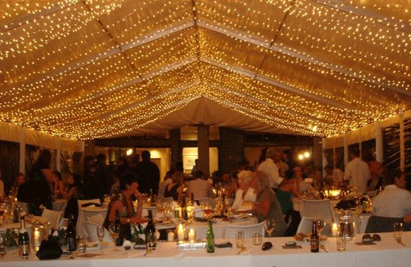 Fairy light ceiling in marquee