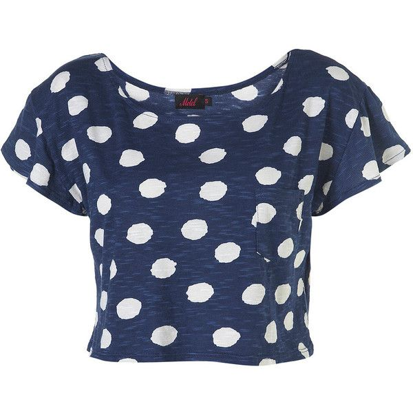 Polka Tammy Tee by Motel** ($20) ❤ liked on Polyvore featuring tops, t-shirts, shirts, crop tops, remeras, women, pocket t shirts, crop t shirt, blue t shirt and polka dot shirt