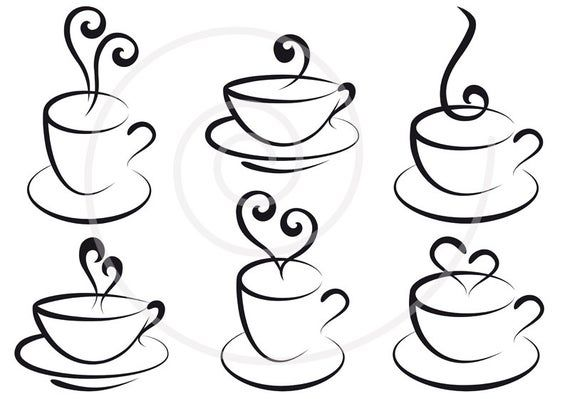 Coffee And Tea Cups With Hearts Digital Clip Art Clipart Etsy In 2021 Digital Clip Art Coffee Vector Clip Art