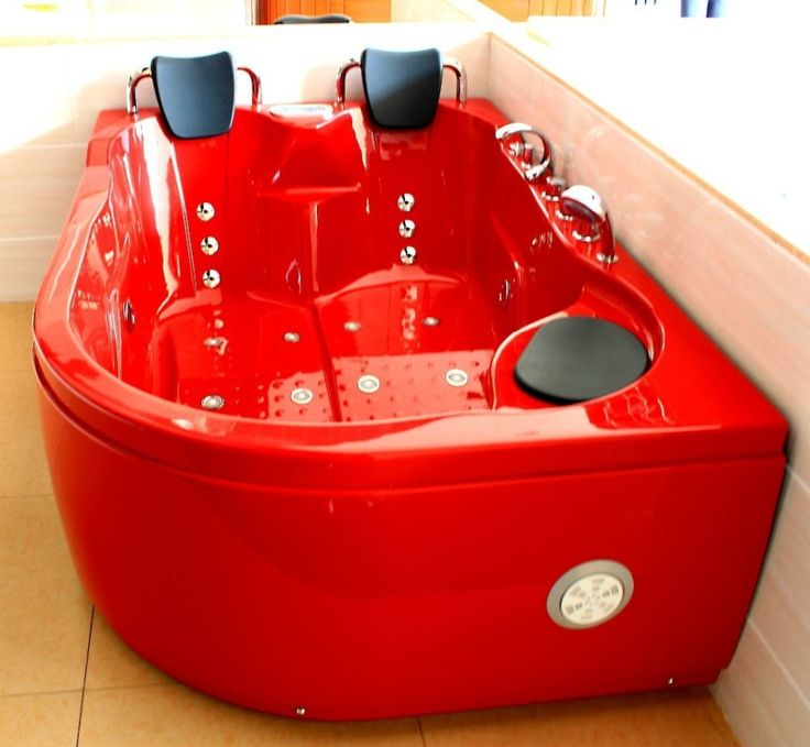 Bathroom. small bathroom with red acrylic two person tub using two pillows and stainless steel double handle shower faucet. Outstanding Two Person Bathtub Design Ideas