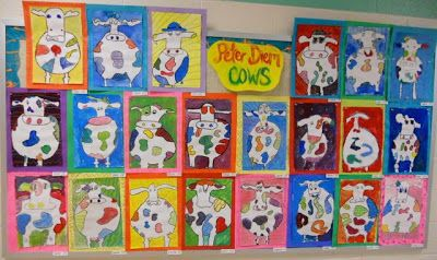 Panther's Palette: 3rd Grade: Cows inspired by Peter Diem