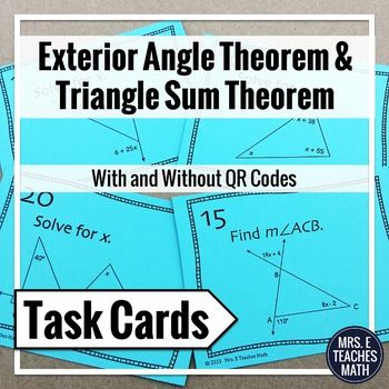 In this set of task cards, students will use the Exterior Angle Theorem and the Triangle Sum Theorem to solve problems. All of the problems are diagrams where students will solve for x or find a missing angle measure. Students will need to solve basic linear equations to solve the problems.