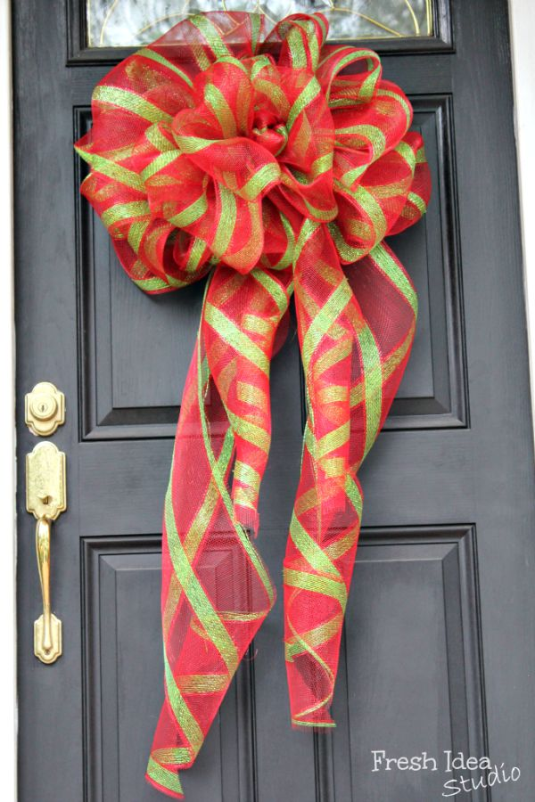 "Pin a big ribbon to a family gift (""It's a… new washing machine!"") or hang one from your door to happily greet carolers and out-of-town guests. Get the tutorial at Fresh Idea Studio » - GoodHousekeeping.com"