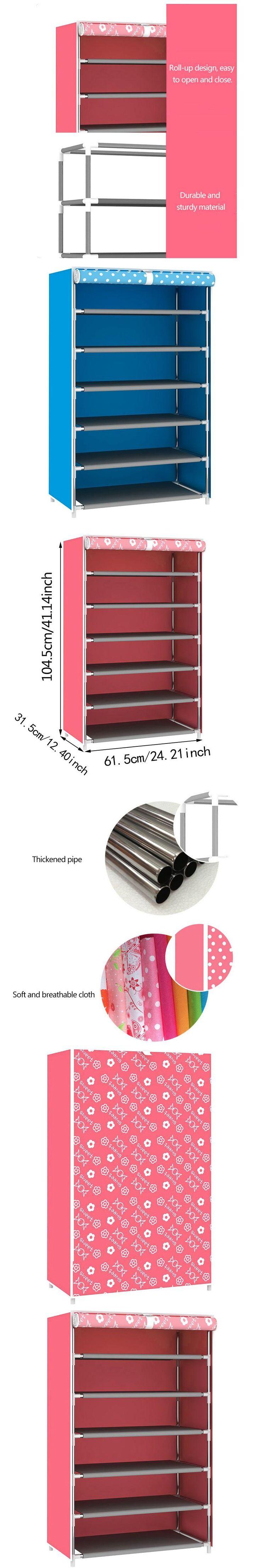 Hot Sale Non-Woven Fabric Shoe Rack Stand Shelf Dustproof Shoe Cabinet Multilayer Organizer Shoes Holder Pink Blue