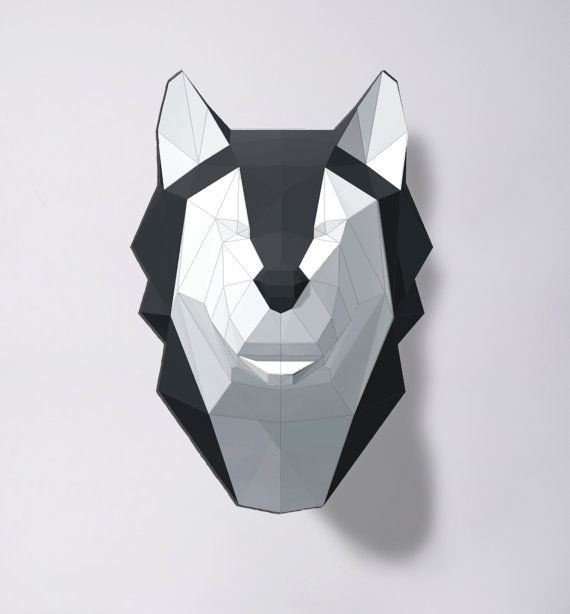 Wolf Sculpture Husky Papercraft Make your own paper wolf /