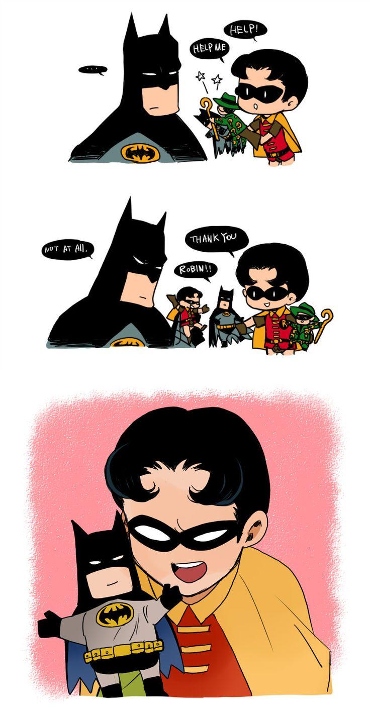 Batman lends a hand (puppet). How adorable!