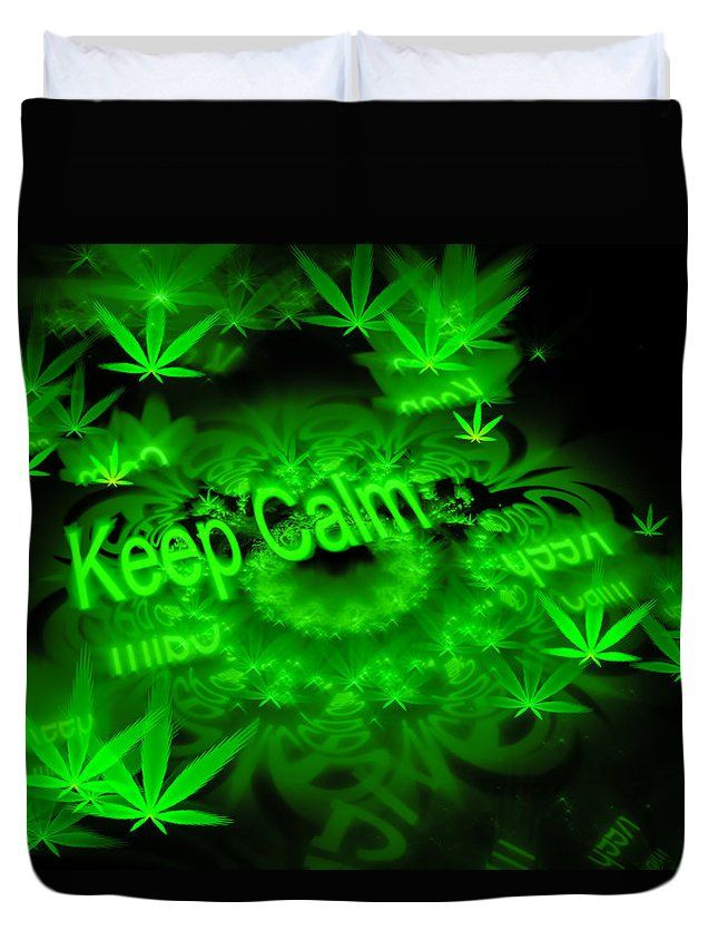 duvet cover bedding keep calm green and black fractal weed art with cannabis marijuana. Black Bedroom Furniture Sets. Home Design Ideas