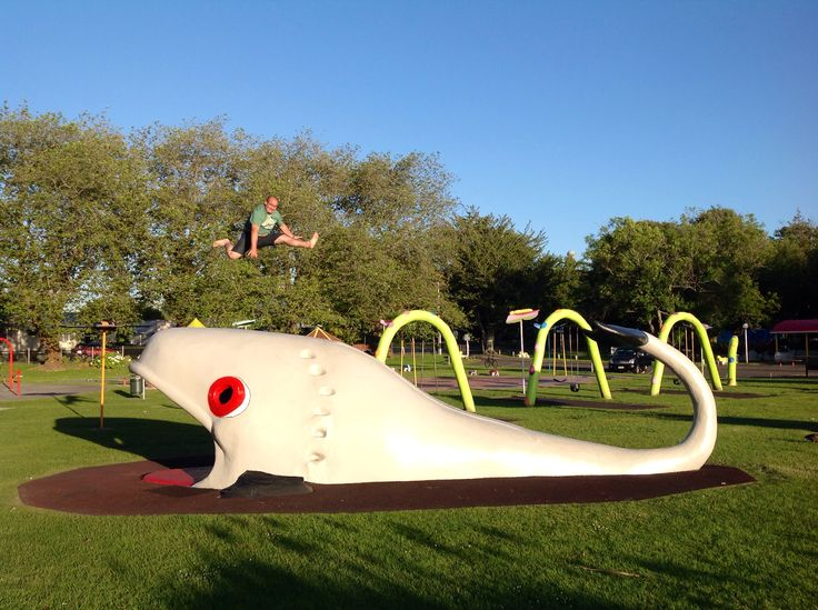 Jumping the Whale at Kowhai Park Wanganui New Zealand the best kids playground ever!