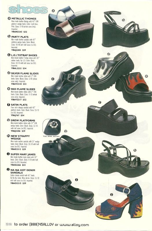 Alloy shoes. Lots of girls got sprained ankles in the 90s... These shoes were too expensive, so I had the cheap K-mart ones, and yes, there were sprained and twisted ankles aplenty... I have weak ankles anyhow, but the shoes probably didn't help much!