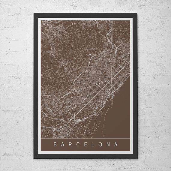 BARCELONA CITY MAP - Line Art City Map - Road Map of Barcelona Minimalist City Map Spain Map Wall Art Modern Design City Grid Poster Ribba
