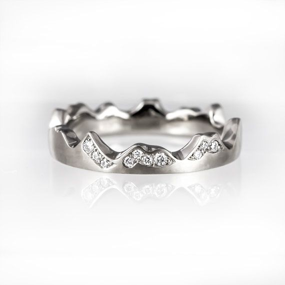 Unique engagement ring unique wedding band mountains ring