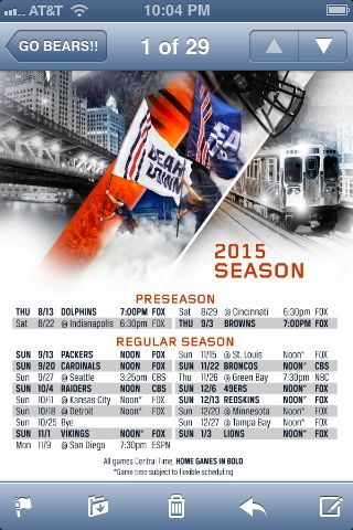 Chicago Bears 2015 game schedule