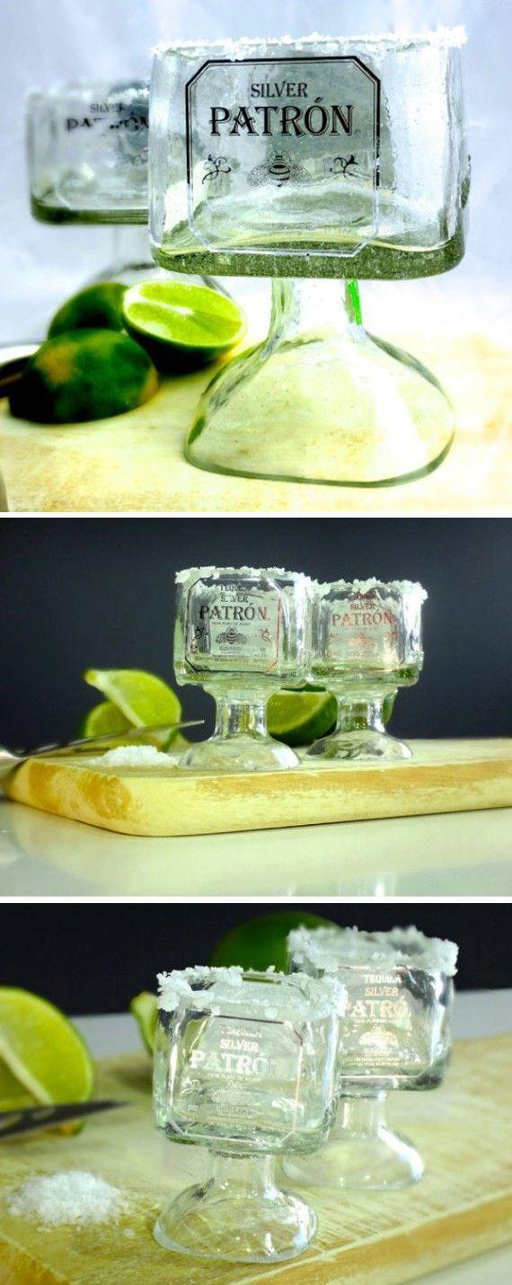 Cute Gift Idea - Upcycled Mini Patron Bottle Shot Glasses