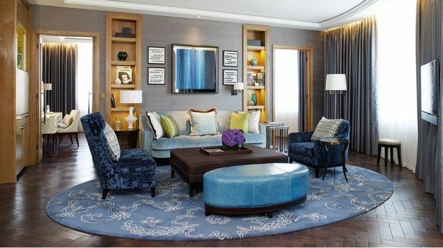 Blue Ottoman Sets Contrast Living Room Theme - Decor Crave