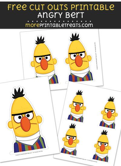 Free Angry Bert Cut Out Printable With Dotted Lines Frozen