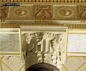 One of the capitals with the lyre frieze in the saloon at Heaton Hall (Manchester, Lancashire, England)