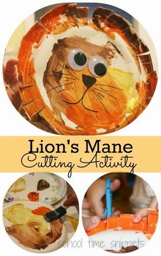 Lion's mane cutting activity for preschool circus theme or just because! It is the perfect preschool craft to practice those all important fine motor skills!
