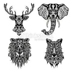 Set of Patterned heads of lion, deer, wolf and elephant. Adult anti-stress coloring book. Black white hand drawn doodle animal. African, indian totem / tattoo design. T-shirt, postcard, poster design