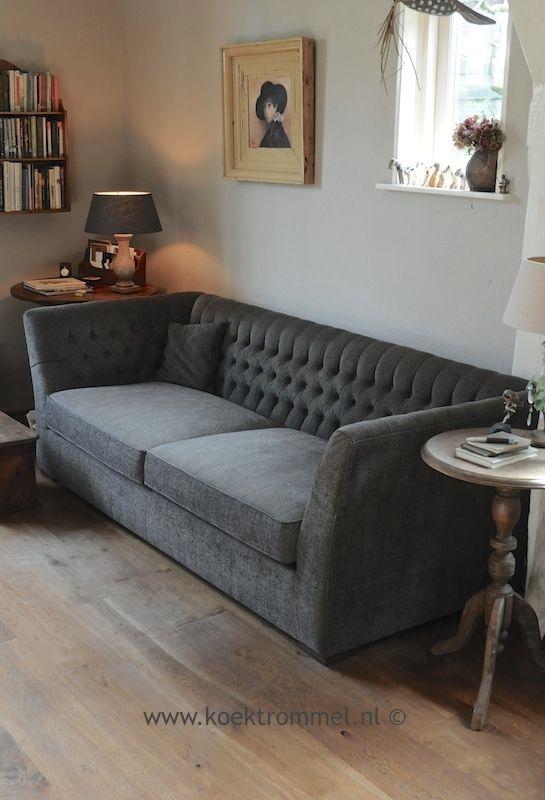 stijlvolle zitbank met capitons, in de stof 'Herringbone'