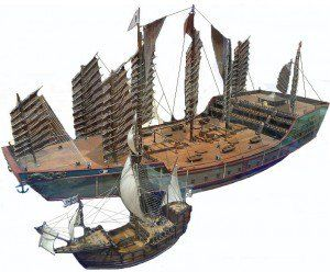 Comparison of the size of Admiral Zheng He's treasure ship and the ship used during the voyage of Christopher Columbus