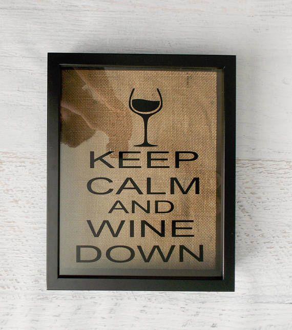 Keep Calm and Wine Down Wine Cork Holder Shadow Box Wine Cork