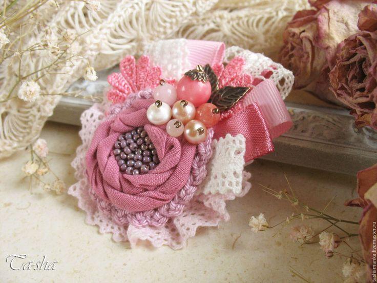 """Купить """"Дикая роза"""" брошь бохо цветок с жемчугом розовый - брошь цветок, брошь"""