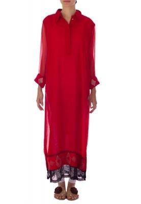 Deepak Perwani -     Red Chiffon Ankle Length Long Sleeve Kurta. Order at www.daraz.pk