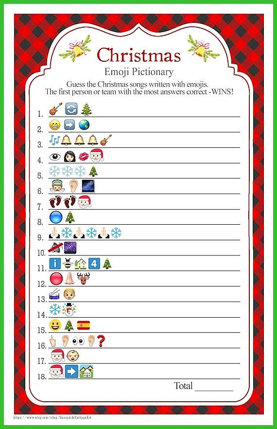 Christmas Songs Emoji Pictionary With A Red Buffalo Check Background Christmas Party Game Christmas Party Activities Holiday Party Games Family Christmas Party