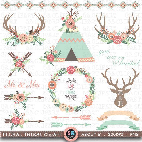 "Floral Tribal ClipArt ""FLORAL TIPI tenten""clip art. Floral geweien Tipi tenten, bruiloft bloemen, pijl, krans, bruiloft uitnodiging Trb011"