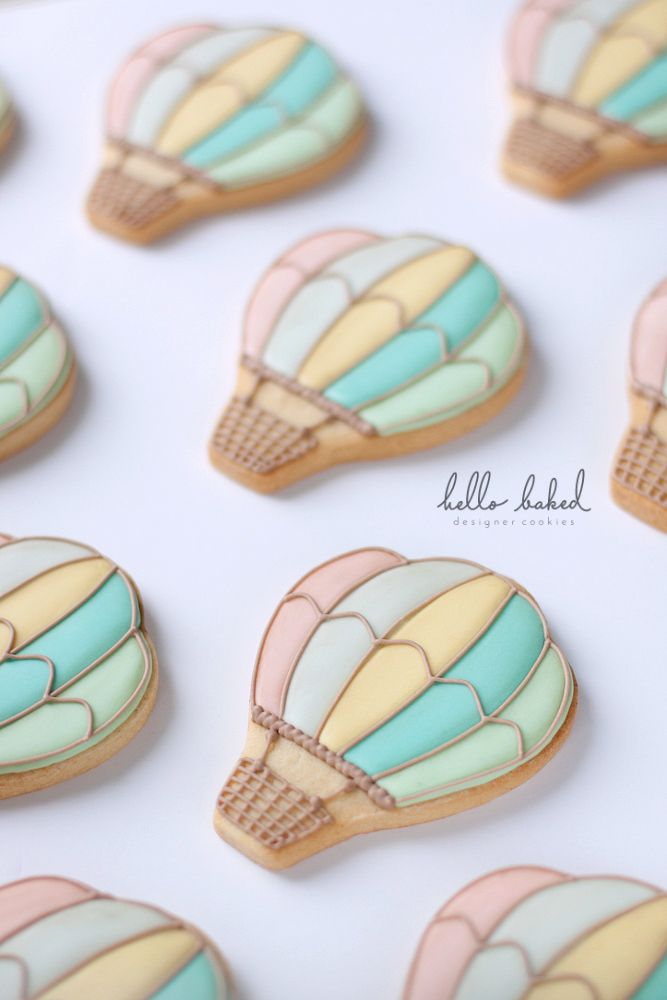 Vintage Hot Air Balloon Cookies- -Using GF cookies, colors would be pale yellow, pale teal, pale green and beige-white, somewhere between 12-20 cookies, dependent on whether I can get pastries from a local bakery