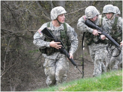 CDT Gray leading cadets to the objective