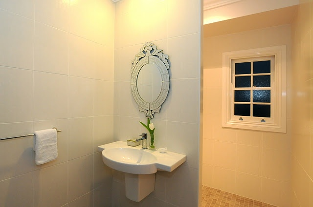 downstairs powder room - with shower behind that wall