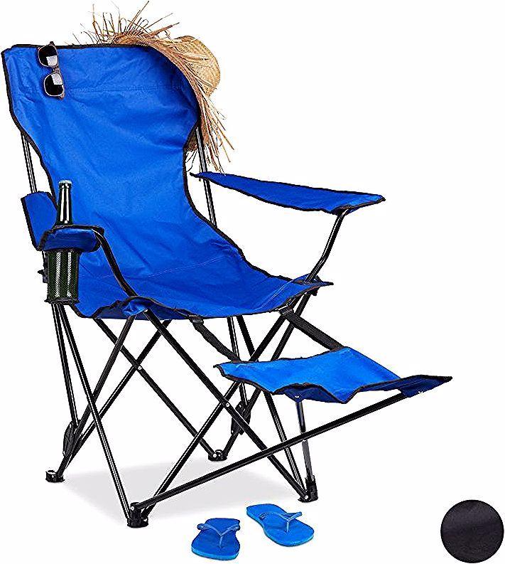 Chaise De Camping Pliante Repose Pieds Porte Boissons 120 Kg Fauteuil Pliable Peche Bleu Relaxdays Camping Chairs Folding Camping Chairs Butterfly Chair