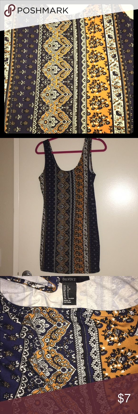 Navy / Gold Long Tank Top Long tank in blue / gold. Never worn. Forever 21 Tops Tank Tops