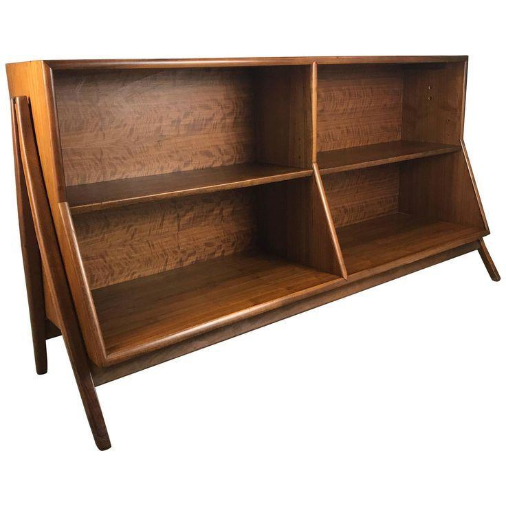 Mid-Century Modern Architectural Walnut Bookcase by Kipp Stewart / Drexel