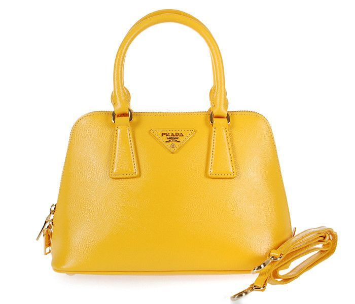 counterfeit prada - Prada BL0838 Lemon Yellow Saffiano Leather 25cm Two Handle Bag ...